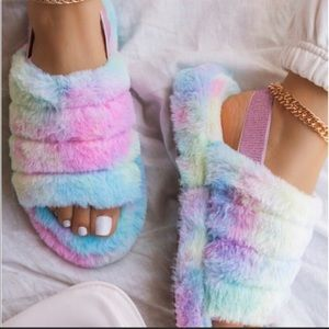 NEW 💕 Soft Rainbow pastel slippers/sandals
